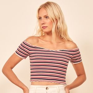 Reformation Willet Top in Hollywood Stripe XS NWT